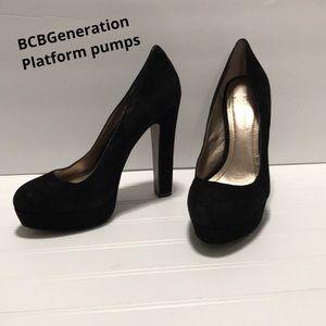 BCBGeneration black suede platform pumps